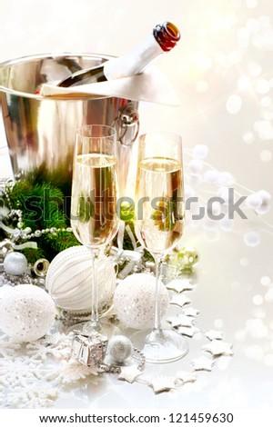 New Year Celebration. Champagne flutes. Blinking Background - stock photo