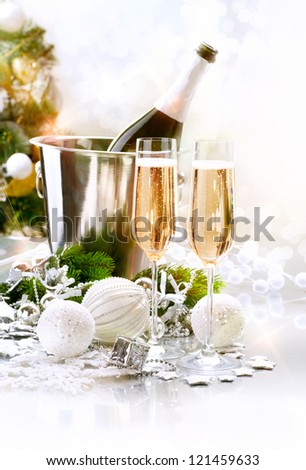 New Year Celebration. Champagne flutes. Blinking Background