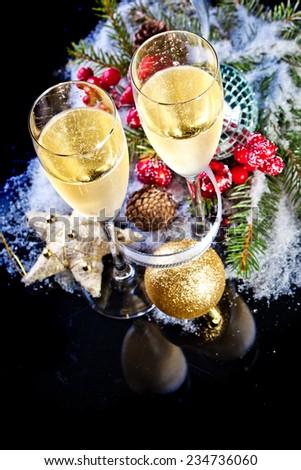 New Year Celebration.Champagne flutes.Isolated on black - stock photo