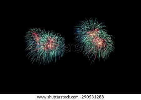 New Year celebration fireworks black background,4th - stock photo