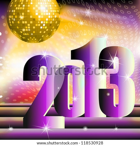 New year 2013 celebration with ball on the shining background - stock photo