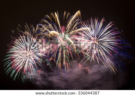 New Year celebrations - Colorful fireworks on the black background