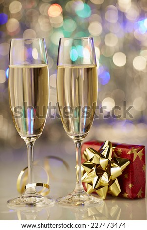 New Year champagne christmas romantic present - stock photo