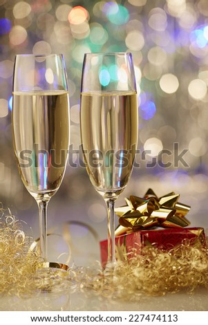 New Year champagne christmas romantic present
