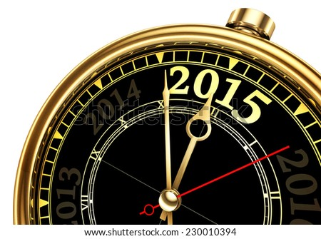 new year 2015 change and past year on gold clock isolated on white background