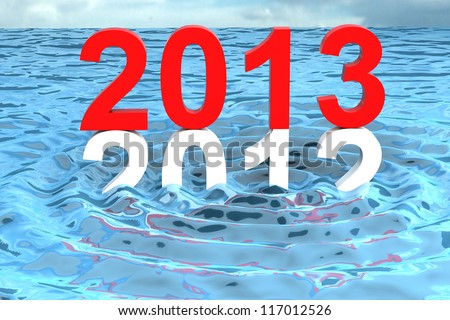 New year 2013 changing shiny red on water wave