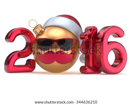 New Year 2016 Christmas ball calendar date emoticon bauble happy Santa Claus hat cartoon mustache face decoration cute red gold. Merry Xmas funny glasses person character souvenir adornment. 3d render - stock photo
