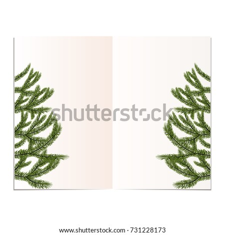 New Year, Christmas Card. Image Of A Beautiful Green Spruce On Both Sides Of