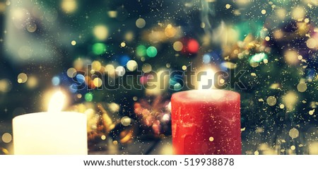 New Year Christmas. Decorated Christmas tree, presents, candles, gifts. Shallow depth of field. Festive bokeh. Christmas bokeh