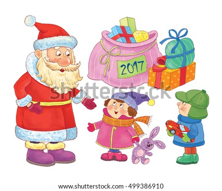 New 2017 Year. Christmas. Greeting card for Christmas. Cute funny Santa with huge bag full of Christmas gifts and the kids. Coloring book. Coloring page. Funny cartoon characters isolated on white