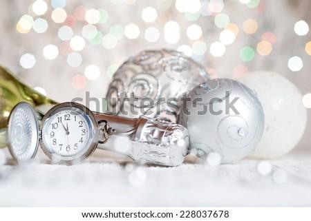 New year clock - stock photo