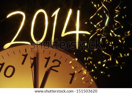 new year clock before midnight,2014 - stock photo