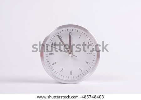 New year clock before midnight on white background.Christmas ornament.