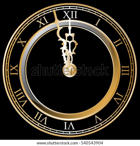 New Year clock, black background