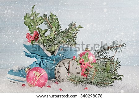 New Year clock with blue shoe and fir branches.  Digital illustration - stock photo