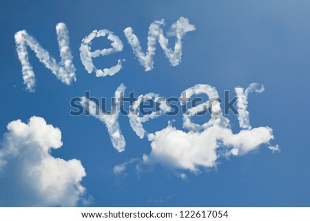 new year cloud shape - stock photo