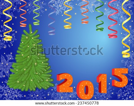 New Year 2015 composition with green Christmas Tree, serpentine and New Year decorations, hand drawing illustration - stock photo