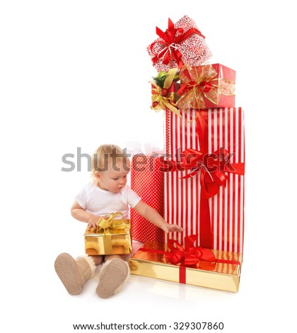 New year 2016 concept child baby toddler kid with Christmas presents gifts for celebration isolated on a white background - stock photo