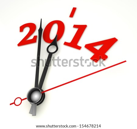 new year 2014 concept clock hands closeup on whte background - stock photo