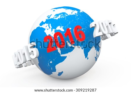 New Year Concept. 3d number 2016 around earth globe on a white background