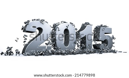 New year 2015 concept in 3d - stock photo