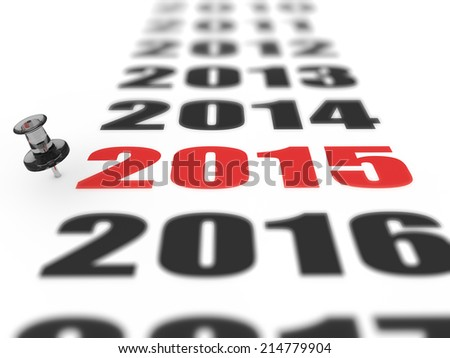 New year 2015 concept in 3d