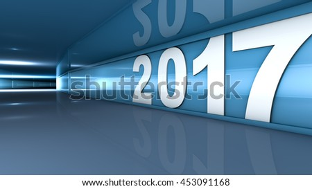 New year 2017 concept in 3d - stock photo