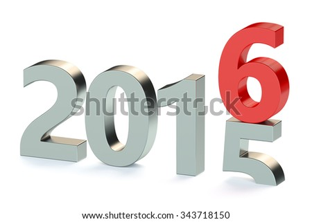 New year 2016 concept isolated on white background