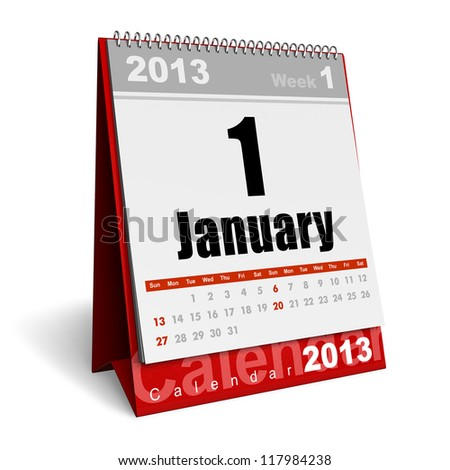 New Year concept: January 2013 calendar isolated on white background - stock photo