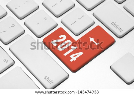 New year concept: 2014 key on the computer keyboard - stock photo