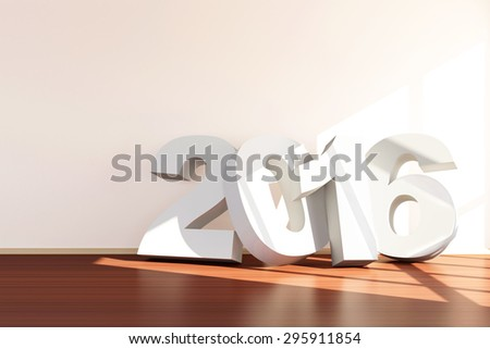New Year 2016 Concept. Modern Empty Room 3D Interior with 2016 near the wall