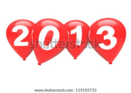 New Year concept. Red christmas balloons with 2013 sign on a white background