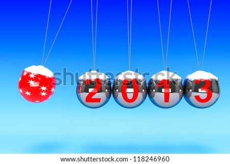 New Year concept. Spheres of Newton with 2013 on a blue background