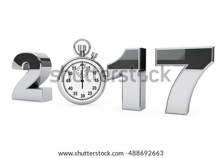 New year 2017 concept. 2017 steel sign with stopwatch on a white background. 3d Rendering