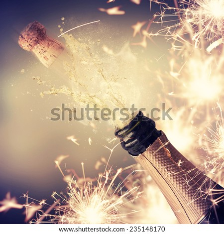 New Year concept with champagne - stock photo