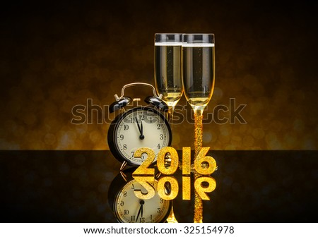 New Year concept with champagne, clock and 2016 number - stock photo
