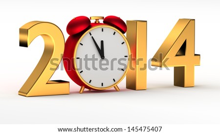 New year 2014 concept with red clock