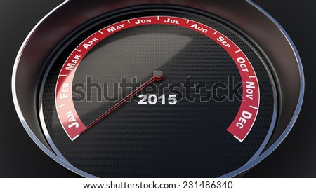 New year concept with tachometer gauge. - stock photo
