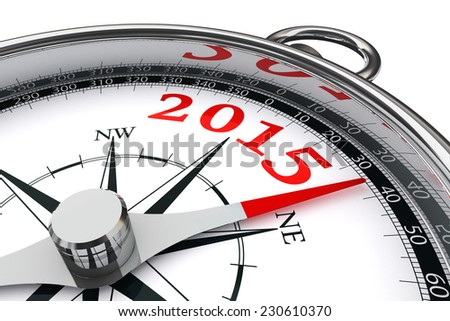 new year 2015 conceptual compass isolated on white background - stock photo