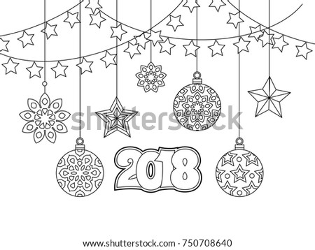 New Year Congratulation Card With Numbers 2018 Christmas Balls Stars Garlands Antistress