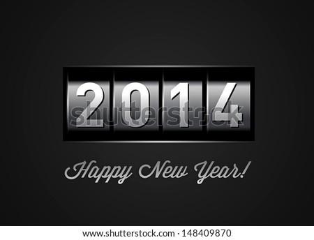 New Year counter 2014. Illustration on black - stock photo