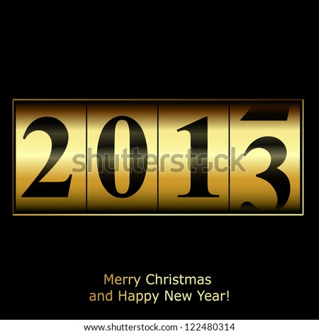 New Year counter in gold design. Raster copy of vector illustration - stock photo