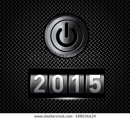 New Year counter 2015 with power button.  - stock photo