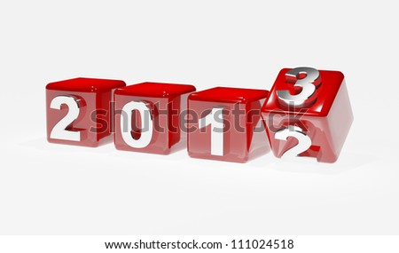 New year 2013 3d cubes - stock photo