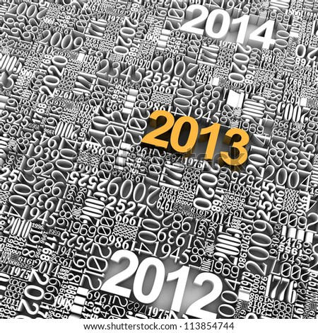 New year 2013. 3d gold of many year numbers. - stock photo