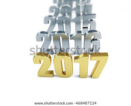 new year 2017. 3d Illustrations on a white background