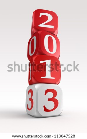 new year 2013 3d red and white box tower on white background.clipping path included - stock photo