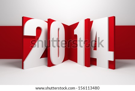 new year 2014, 3d render - stock photo