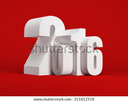 new year 2016, 3d render - stock photo