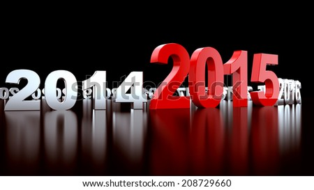 New Year 2015. 3d render illustration - stock photo